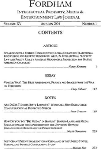 Fordham Intellectual Property, Media & Entertainment Law Journal - Table of contents of Vol. 15, No. 1 (2004)
