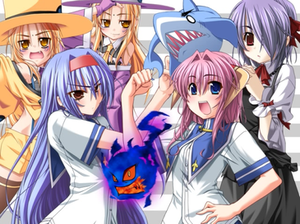 Furifuri - The heroines and two side characters of Furifuri (clockwise, from top-left): Mako and Kako, Merluza, Kaguya, Minori, Horobi, and Zyun.