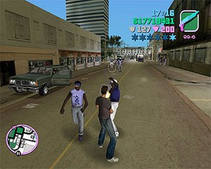 Grand Theft Auto: Vice City - The game allows the player to harm immigrant Haitians (pictured) and Cubans. Civil rights organisations accused the game of inviting ethnic violence, and of featuring discriminatory phrases.