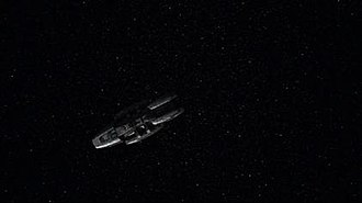 Scattered (Battlestar Galactica) - Image: Galactica alone in Battlestar Galactica episode Scattered