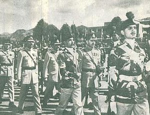 Muhammad Zia-ul-Haq - General Zia-ul-Haq (centre-left, second row) marching with Chairman Joint Chiefs General Muhammad Shariff at PMA, 1977.