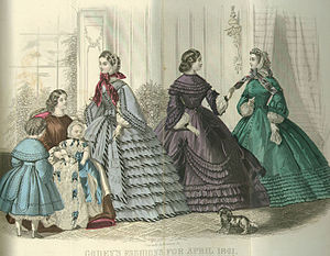 Trim (sewing) - Elaborately trimmed fashions for April 1861 from Godey's Lady's Book.