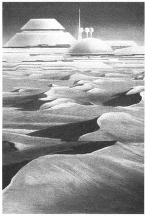 """Arrakis - Grand Palace of Arrakeen and dunes of Arrakis from Frank Herbert's """"The Road to Dune"""" (1985), illustrated by Jim Burns"""