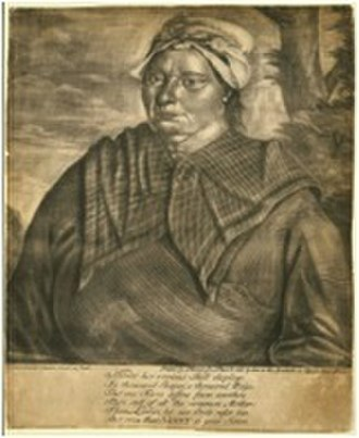 Female slavery in the United States - Jersey Negro (1748), John Greenwood. This portrait of Ann Arnold was the first individual portrait of a black woman in North America. Ann Arnold was the wet nurse of a child whose parents were born in the English isle of Jersey.  Museum of Fine Arts, Boston.