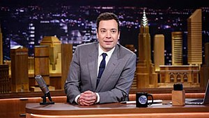 The Tonight Show Starring Jimmy Fallon - Fallon at his desk on the show's premiere episode