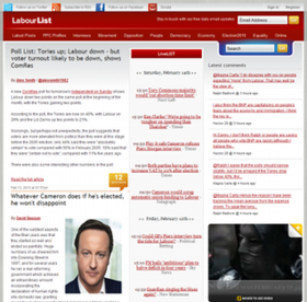 The LabourList home page.