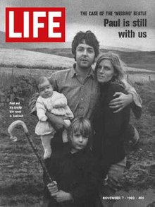 The cover of an edition of Life magazine showing Paul McCartney and family in Scotland'