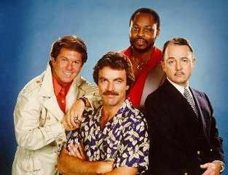Magnum, P.I. - The cast of Magnum, P.I.: (left-to-right) Larry Manetti as Rick, Tom Selleck as Magnum, Roger E. Mosley as T.C., and John Hillerman as Higgins