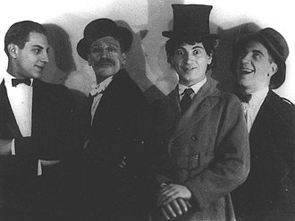 Lost film - Humor Risk (1921), now long-lost, was the first Marx Brothers film. Pictured in a photograph the same year, from left to right, are Zeppo, Groucho, Harpo, and Chico.