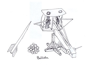 Ballista - Reproductions of ancient Greek artillery, including catapults such as the polybolos (to the left in the foreground) and a large, early crossbow known as the gastraphetes (mounted on the wall in the background)