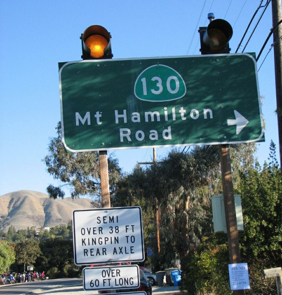 Mt. Hamilton Road Sign