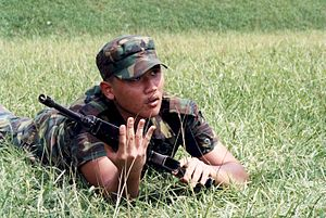 National Cadet Corps (Singapore) - A cadet taking part in Fieldcraft training.