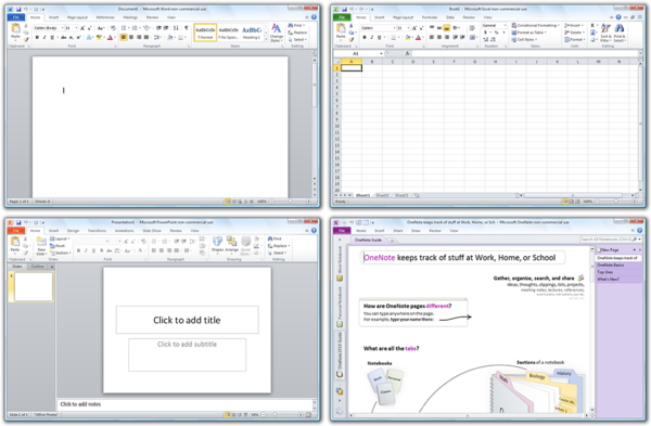 a8df176239a10 Microsoft Office 2010 programs (clockwise from top-left)  Word