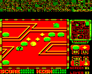 Perplexity (video game) - Acorn Electron screenshot. The top of the screen is using the display to store game data to fit the game into the Electron's limited memory.
