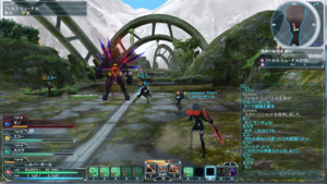 Phantasy Star Online 2 - PC Battle Interface of Phantasy Star Online 2. In the Ruins stage, the player battles Dark Falz Hunar, one of the main antagonists of the series.