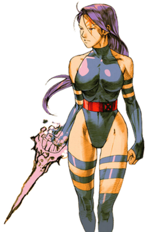 Psylocke in other media - Psylocke as drawn by Capcom artist CRMK for the fighting game Marvel vs. Capcom 2: New Age of Heroes (based on Jim Lee's original design from the early 1990s)