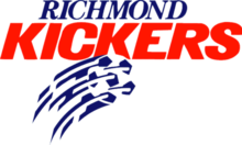 Richmond Kickers spelled out in blue and red lettering respectively, with a soccer ball underneath.