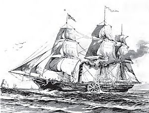 SS Savannah -  Savannah under both sail and steam power