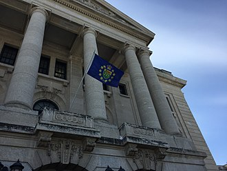 Lieutenant Governor of Saskatchewan - The Vice Regal Standard over the Saskatchewan Legislative Building at the Installation of W. Thomas Molloy