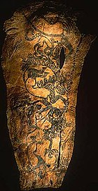 A tattoo on the right arm of a Scythian chieftain, whose mummy was discovered at Pazyryk, Russia