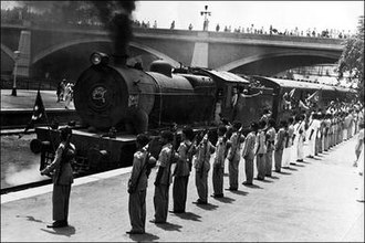 Religious war - Train to Pakistan being given a warm send-off. New Delhi railway station, 1947