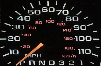 Metrication - A speedometer used in American and British cars, showing the speed of the vehicle in miles per hour (outer, in white) and kilometres per hour (inner, in red) – for Canadian vehicles the scales are reversed, or in km/h only.