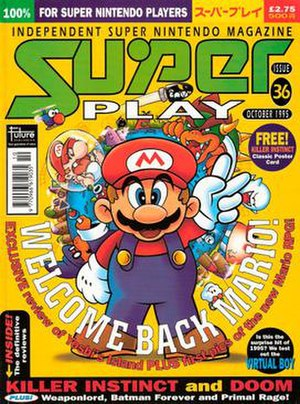 Super Play - Issue 36 (October 1995) of Super Play - the cover art by Wil Overton, featuring Mario