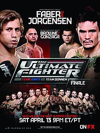 A poster or logo for The Ultimate Fighter: Team Jones vs. Team Sonnen Finale.