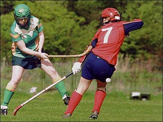 Women's shinty - Tír Conaill Harps in action.