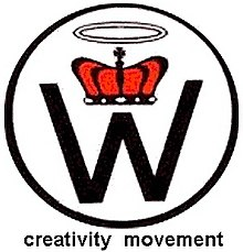 Letter W, crown and halo inside a black circle
