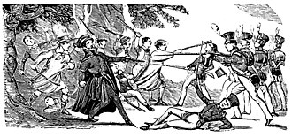 Battle of Bossenden Wood - Scene at Bossenden Wood drawn by an eyewitness, expressly for the Penny Satirist