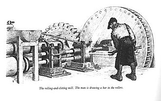 Revere Copper Company - A colonial worker at a rolling mill like the one Revere would have used.