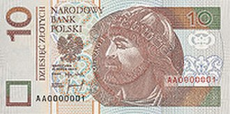 Polish coins and banknotes - Image: 10 złoty (Poland) note