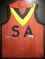 Bob Quinn's 1947 South Australian state guernsey. of South Australia team