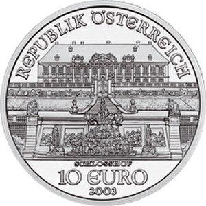 Schloss Hof - Image: 2002 Austria 10 Euro The Castle of Schlosshof front