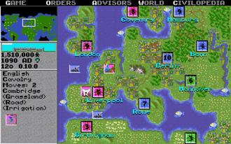 Civilization (video game) - A world map screenshot from the Amiga version of Civilization
