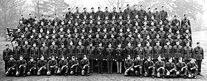 Arkansas National Guard and World War II - Company E, 153rd Infantry, Arkansas National Guard after they were mobilized, but before they were sent to Washington State and then the Aleutian Islands. This photograph was likely taken at Camp Forrest, Tennessee, in early 1941.