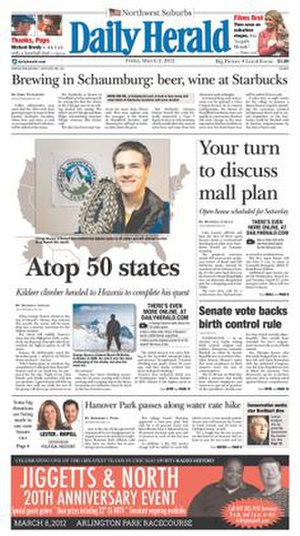 Daily Herald (Arlington Heights) - Image: Daily Herald (Chicagoland) front page