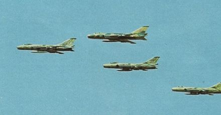Egyptian Sukhoi Su-7 fighter jets conducting air strikes over the Bar Lev Line on 6 October Egyptian MIG 21s during Yom Kippur War.jpg