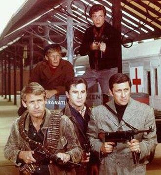 Garrison's Gorillas - Back row, L-R: Goniff (Christopher Cary) and Chief (Brendon Boone). Front, L-R: Garrison (Ron Harper), Casino (Rudy Solari) and Actor (Cesare Danova).