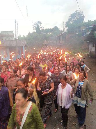 Gorkhaland - Torch rally in support of Gorkhaland in Darjeeling district.