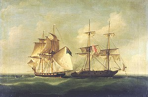 Action of 2 March 1808 - HMS Sappho capturing the Danish brig Admiral Jawl, Oil on Canvas, 19th century.