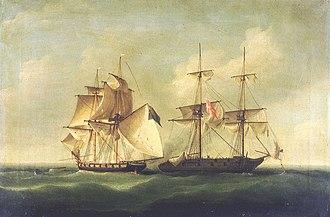 HMS Sappho (1806) - Image: HMS Sappho capturing the Danish brig Admiral Jawl