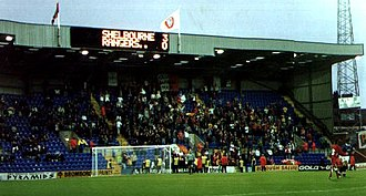 Shelbourne F.C. - The scoreboard in Prenton Park, just before the hour mark.