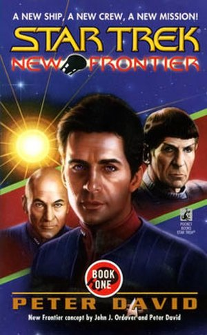Star Trek: New Frontier - Cover to the 1997 Star Trek: New Frontier debut novel, House of Cards, showing main character Captain Mackenzie Calhoun, in the center.  Art by Keith Birdsong.