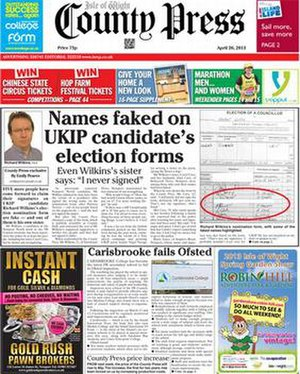 Isle of Wight County Press - Image: Isle of Wight County Press front page