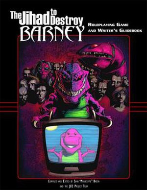 Anti-Barney humor - Cover of The Jihad to Destroy Barney (1990s) roleplaying guidebook.