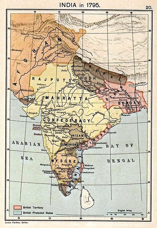 Map of India in 1795, map indicates the political end of the Mogul dynasty in India. Joppen1907India1795a.jpg