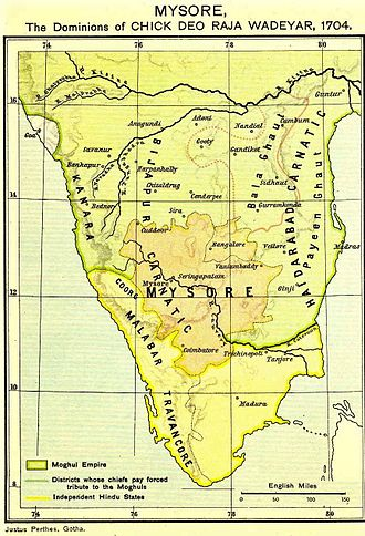 Kingdom of Mysore - Kingdom of Mysore (1704) during the rule of King Chikka Devaraja Wodeyar
