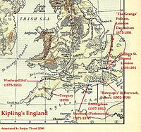 Kipling's England: map of England with locations and years of Kipling's stays.  Click to enlarge.